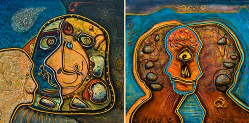 Clownization and Cyclopization, paintings by Anders Tomlinson, 24 x 24 inches, acrylics on masonite.  Photos by Anders Tomlinson.