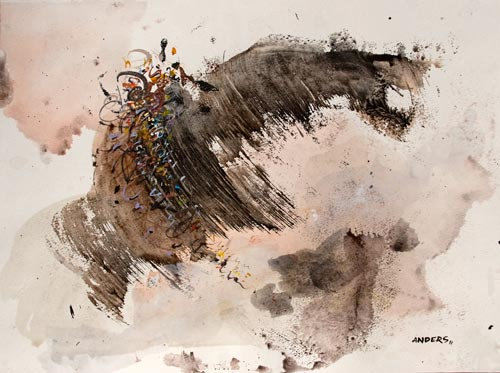 A Fleeing Flight to Somewhere Free, painting by Anders Tomlinson, 15 x 20 inches, acrylics-watercolor paper. Photo by Anders Tomlinson.