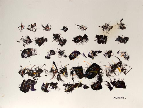 Bugs in a Row, a painting by Anders Tomlinson, 15 x 20 inches, acrylics on watercolor paper. Photo by Anders Tomlinson