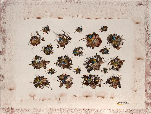 Flies in a Row, painting by Anders Tomlinson, 15 x 20 inches, acrylics-watercolor paper. Photo by Anders Tomlinson.
