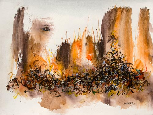 The Canyon Had Eyes and Song, painting by Anders Tomlinson, 15 x 20 inches, acrylics-watercolor paper.  Photo by Anders Tomlinson.