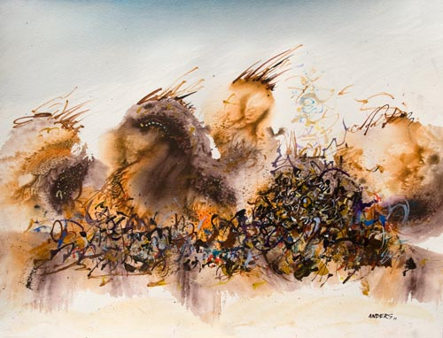 They Shared Common Ground for the Moment, painting by Anders Tomlinson, 15 x 20 inches, acrylics-watercolor paper.  Photo by Anders Tomlinson.