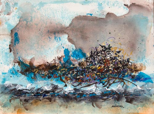 Decades of Rising Tides, painting by Anders Tomlinson, 15 x 20 inches, acrylics-watercolor paper. Photo by Anders Tomlinson.