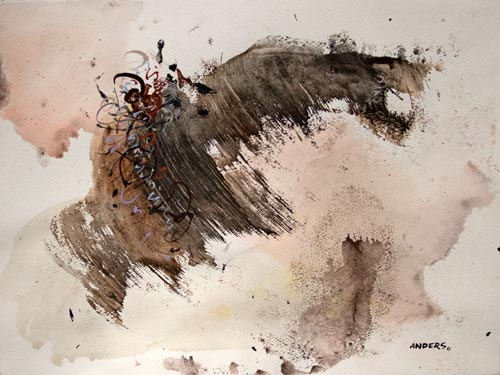 Fleeing Flight, painting by Anders Tomlinson, 15 x 20 inches, acrylics-watercolor paper.  Photo by Anders Tomlinson.