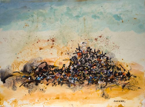 One Man's Rubble is Another's Another, painting by Anders Tomlinson, 15 x 20 inches, acrylics-watercolor paper. Photo by Anders Tomlinson.
