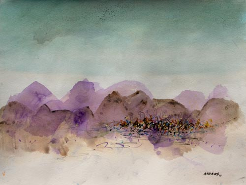 Purple Mountains and Green Skies Cry Truce, painting by Anders Tomlinson, 15 x 20 inches, acrylics-watercolor paper.  Photo by Anders Tomlinson.