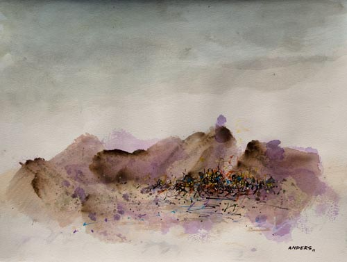Purple Mountain Pride Less Majesty, painting by Anders Tomlinson, 15 x 20 inches, acrylics-watercolor paper.  Photo by Anders Tomlinson.