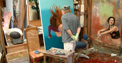 Marc Gould working in his studio.  Scene from Art Talk Talks Art Mesmerize Yourself.  Photo by Noah Gould.