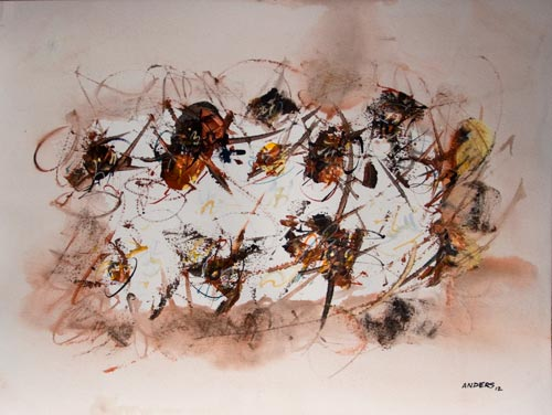 Making Marks into Marks, painting by Anders Tomlinson, 15 x 20 inches, acrylics-watercolor paper.  Photo by Anders Tomlinson.