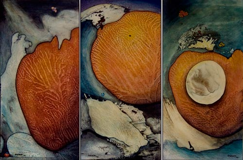 Vascular Triptych.  painting by Anders Tomlinson, 3 panels each 48 x 24 inches, acrylics on masonite.  Photos by Anders Tomlinson.