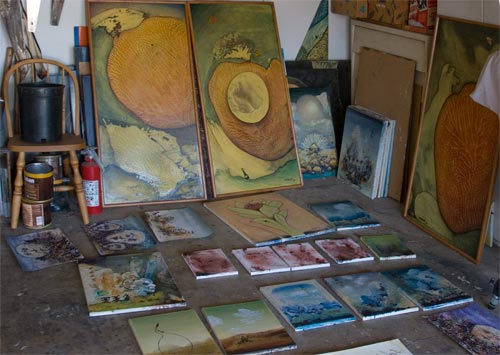 Anders paintings in progress, paint studio, san diego, ca.  01-15-13.  photo by anders tomlinson.