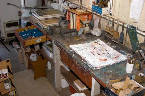 anders workbench in paint studio, san diego, ca.  photo by anders tomlinson.