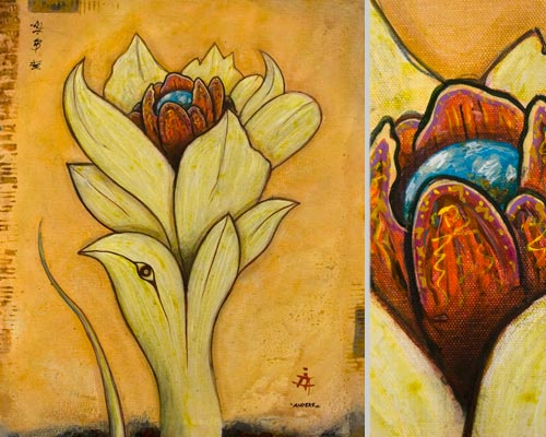 springtime for god, painting by anders tomlinson, 24 x 20 inches & detail, acrylics-canvas.  photos by anders tomlinson.
