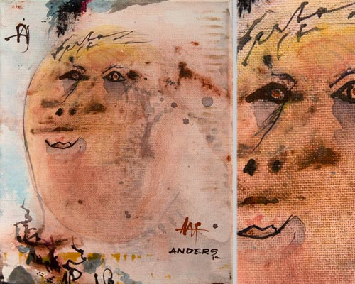 teddy the tax mant, painting by anders tomlinson, 10 x 8 inches & detail, acrylics-canvas.  photos by anders tomlinson.