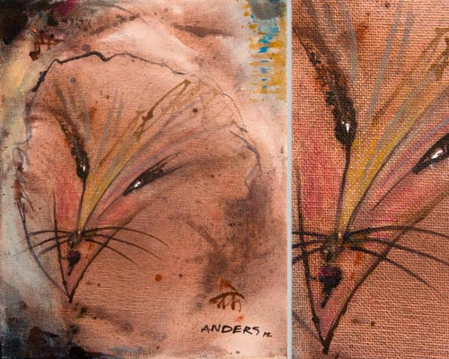 wonder the miracle cat, painting by anders tomlinson, 10 x 8 inches & detail, acrylics-canvas.  photos by anders tomlinson.