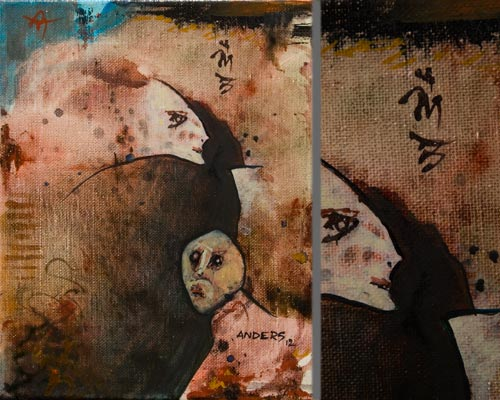Can You Keep a Secret, painting by Anders Tomlinson, 10 x 8 inches & detail, acrylics-canvas. Photos by Anders Tomlinson.