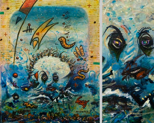 Malcolm in the Middles, painting by Anders Tomlinson, 14 x 11 & details, acrylics-canvas.  Photos By Anders Tomlinson.