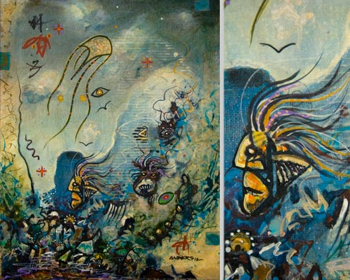 Horatio Lost His Horn. painting by Anders Tomlinson, 14 x 11 inches & detail, acrylics-canvas. Photos by Anders Tomlinson.