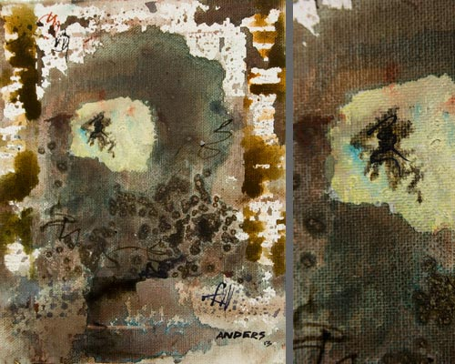 PictoVision, painting by Anders Tomlinson, 10 x 8 inches & detail, acrylics-canvas. Photos by Anders Tomlinson.
