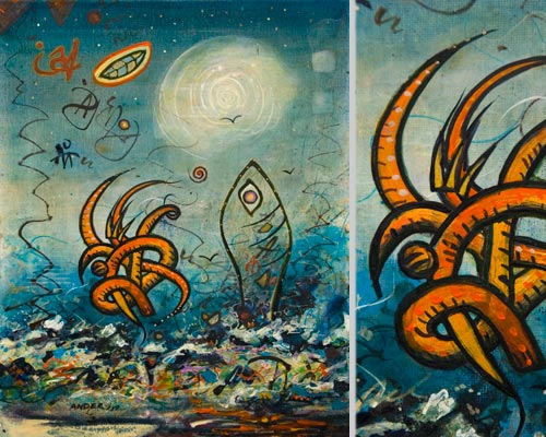 Standing Up for Species Rights, painting by Anders Tomlinson, 14 x 11 & details, acrylics-canvas. Photos By Anders Tomlinson.