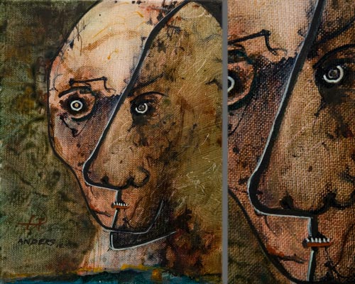 The Headache Could Talk, painting by Anders Tomlinson, 10 x 8 inches & detail, acrylics-canvas. Photos by Anders Tomlinson.
