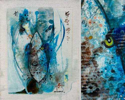A Fishbowl Existence, painting by Anders Tomlinson, 14 x 11 inches & detail, acrylics-canvas. Photos by Anders Tomlinson.