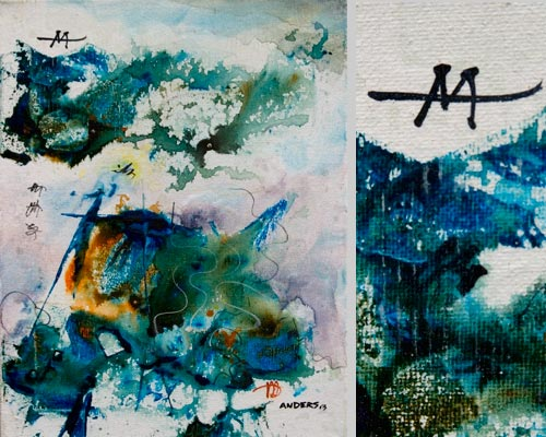 A Spontaneous Gesture. painting by Anders Tomlinson, 14 x 11 inches & detail, acrylics-canvas. Photos by Anders Tomlinson.