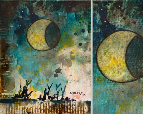 Fourth of July Eclipse, painting by Anders Tomlinson, 10 x 8 inches & detail, acrylics-canvas. Photos by Anders Tomlinson.