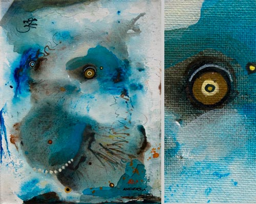 Friendly and Stormy, painting by Anders Tomlinson, 14 x 11 inches & detail, acrylics-canvas. Photos by Anders Tomlinson.