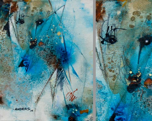 Shards of Political Correctness, painting by Anders Tomlinson, 10 x 8 inches & detail, acrylics-canvas. Photos by Anders Tomlinson.