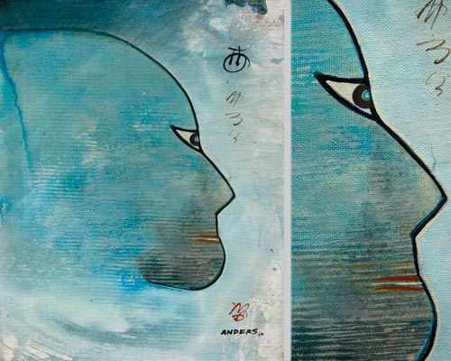 There Was A Face In the Sky, painting by Anders Tomlinson, 14 x 11 inches & detail, acrylics-canvas. Photos by Anders Tomlinson.
