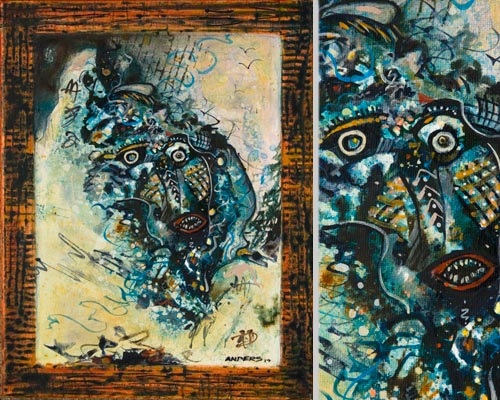 Speciescopia, painting by anders tomlinson, 14 x 11 inches & detail, acrylics-canvas. photo by anders tomlinson.
