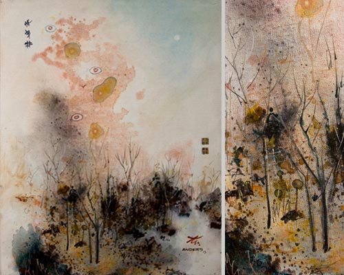 Becoming Dizzy in an Imaginary Forest, painting by Anders Tomlinson, 20 x 16 inches & detail, acrylics-canvas.  Photos by Anders Tomlinson.