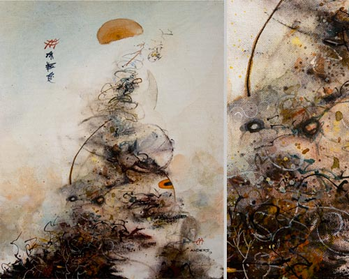 Eliminating The Body of Personal Pollution, painting by Anders Tomlinson, 20 x 16 inches & detail, acrylics-canvas.  Photos by Anders Tomlinson.