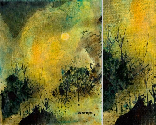 Ten Months After, painting by Anders Tomlinson, 10 x 8 inches & detail, acrylics-canvas.  Photos by Anders Tomlinson.