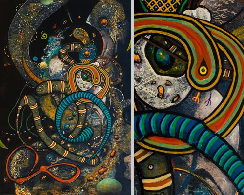 Revisiting Evolution Once Again, painting by Anders Tomlinson,  44.5 x 30.5 inches, acrylics-masonite.