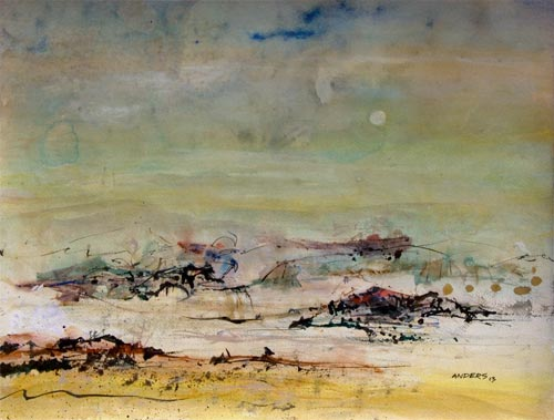 Starting Tine Was Here and There, painting by Anders Tomlinson, 18 x24 inches, acrylics-watercolor paper.  photo by Anders Tomlinson