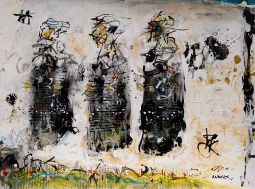 Three Wise Men Bearing No Gifts, painting by Anders Tomlinson, 16 x 20 inches, acrylics-watercolor paper. photo by anders tomlinson