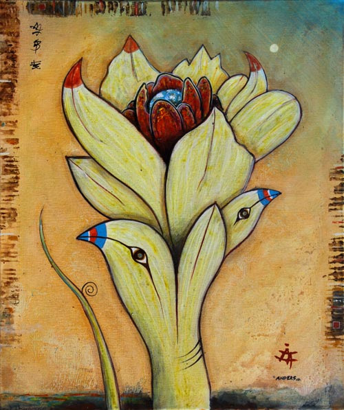Planetary Flower Opening, painting by Anders Tomlinson, 24 x 20 inches, acrylics-canvs. photo by anders tomlinson