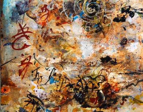 Morning Plans Awash & Amiss, painting by Anders tomlinson,  30 x 12 inches, acrylics-paper.  photo y anders tomlinson.
