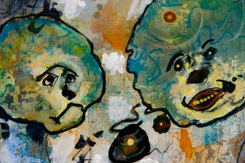 osco Is looking for a Buddy, painting by anders tomlinson, 10 x 8 inches, acrylics-canvas. photo by anders tomlinson.