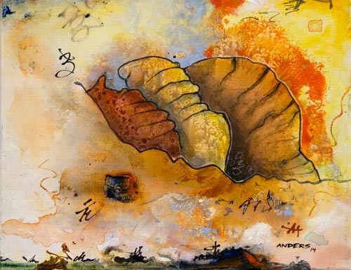 Logical Cocoons Embrace Marooned Emotions, painting by Anders Tomlinson, 11 x 14 inches,acrylics-canvas. photo by anders tomlinson.