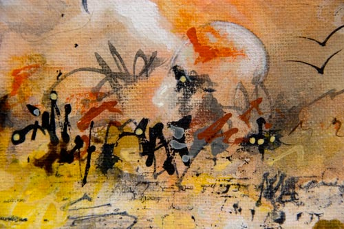 Extended Intentions, painting by anders tomlinson, 10 x 8 inches, acrylics-canvas,  photo by anders tomlinson.