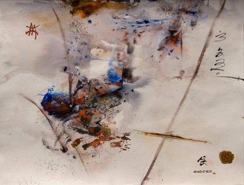 crossroads of memory, painting by anders tomlinson, 16 x 20 inches, acrylics/watercolor paper