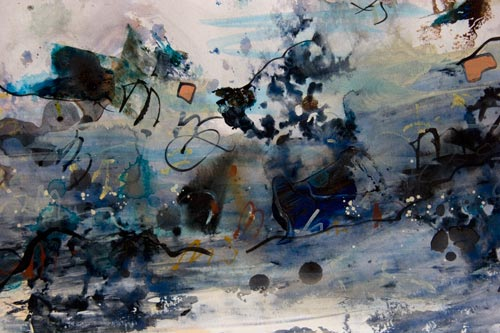 Navigational Snafu Runs Amok, painting by anders tomlinson, 18 x 24 inches, acrylics-watercolor paper. photo by anders tomlinson.