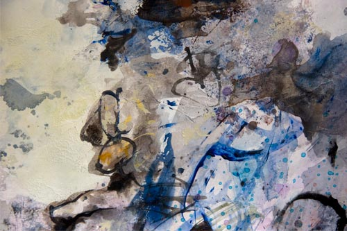 third snow on the second day, painting by anders tomlinson, 18 x 24 inches, acrylics-watercolor paper. photo by anders tomlinson.