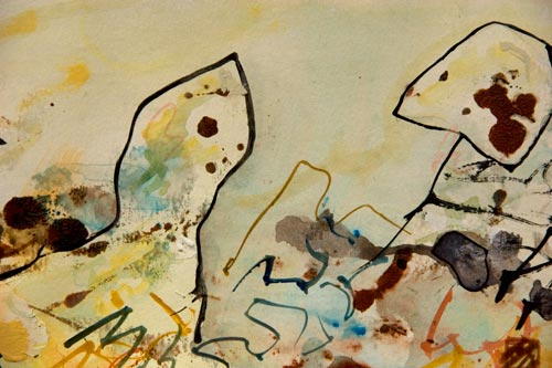 Dreamers within a Dream, painting by anders tomlinson, 18 x 24 inches, acrylics-watercolor paper. photo by anders tomlinson