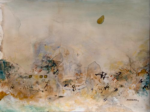 Dreaming of Dreaming, painting by anders tomlinson, 18 x 24 inches, acrylics-watercolor paper. photo by anders tomlinson
