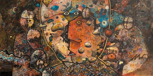 in search of majorities, painting by anders tomlinson, 24 x 48 inches, acrylics-masonite. photo by anders tomlinson.