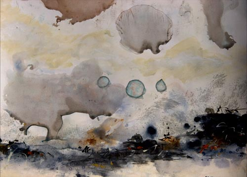 Impending took an unexpected turn of events, painting by anders tomlinson, 24 x 18 inches, acrylics-watercolor paper. photo by anders tomlinson